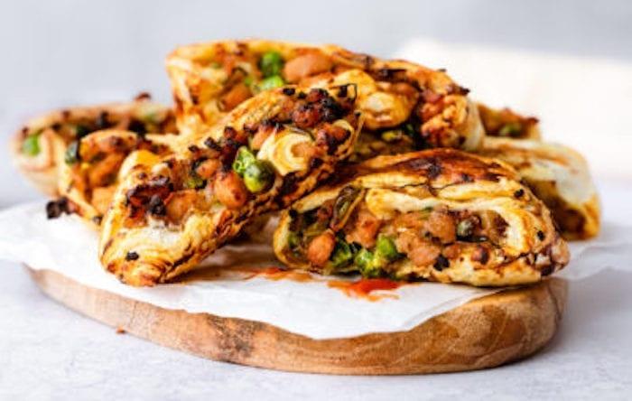 Caramelised Apple & Pea Sausage Rolls